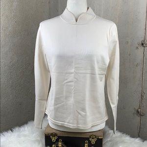 Pendleton Mock Neck Long Sleeve Silk/Nylon Medium